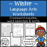 Winter Language Arts Crossword Puzzles, Word Searches, and Word Sorts