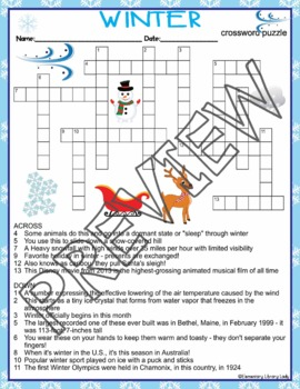 winter activities crossword puzzle and word search find tpt. Black Bedroom Furniture Sets. Home Design Ideas