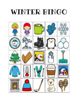 This is an image of Dynamic Winter Bingo Cards Free Printable