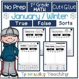 Winter Cut and Glue Math Sorts Worksheets