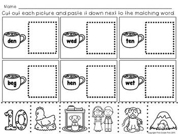 Reading Worksheets for Winter Cut and Paste