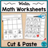 Winter Cut and Paste Math Worksheets for Special Education and Autism