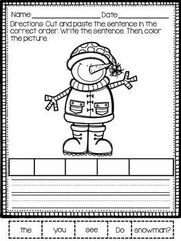 Winter Cut and Paste Sentences