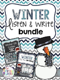 Winter Listen & Write Bundle: QR Code Listen to Reading and Work on Writing