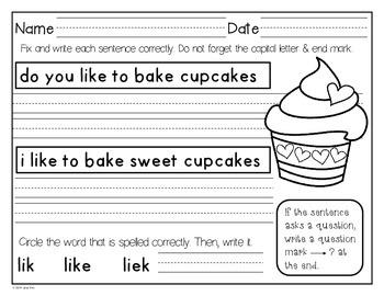 Winter Daily Language Practice~Kindergarten & First Grade
