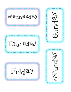Winter Days of the Week Calendar Headers