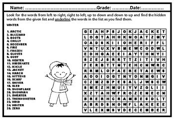 Winter, December, January Collaborative Art & Word Search Early Finishers Bundle