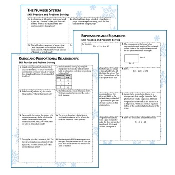 7th Grade WINTER / December MATH PACKET -  { COMMON CORE Assessment }