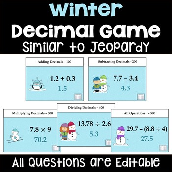 Winter Decimal Game - Similar to Jeopardy