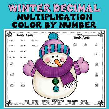 Winter Decimal Multiplication Color by Number