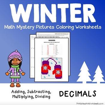 Winter Decimals Coloring Worksheets