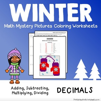 Operations with Decimals, Winter Decimals Mystery Pictures Coloring Worksheets