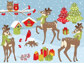 Winter Deers Clipart - Digital Vector Deer, Christmas, Winter, Owls Clip Art