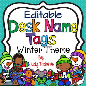 Winter Desk Name Tags...Editable