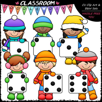 Winter Dice Kids - Math Clip Art & B&W Set