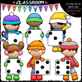 Winter Dice Kids - Math Clip Art & B&W Set