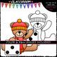 Winter Dice Teddy Bears - Clip Art & B&W Set
