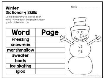 Winter Dictionary Skills