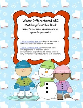Winter ABC Letter and Sound Printable Matching Book (Common Core Aligned)