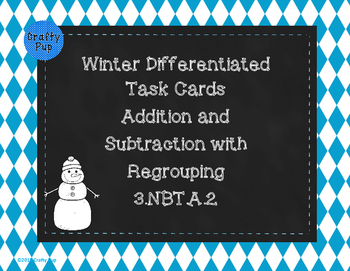 Winter Differentiated Addition and Subtraction Task Cards