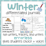 Winter Differentiated Leveled Journal Writing for Special