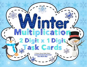 Winter Multiplication  (2 Digit x 1 Digit) Task Cards