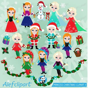 Winter Digital Clipart, Frozen Christmas clipart, Princess