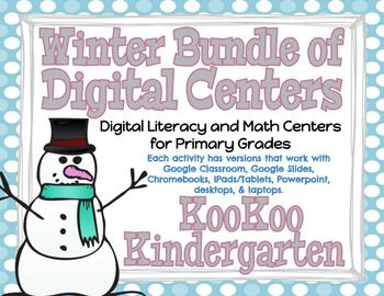 Winter Digital Literacy & Math Centers Bundle (Compatible with Google Apps)