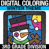 Winter Digital Math Coloring Division Practice Digital Col