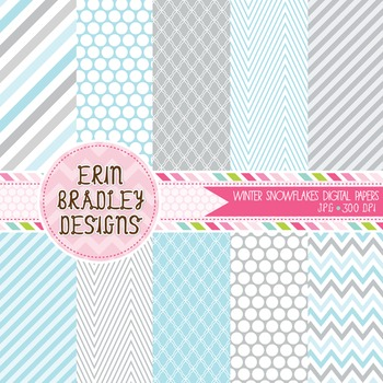 Winter Digital Paper Backgrounds - Blue & Gray