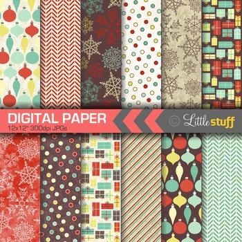Winter Digital Paper, Christmas Digital Paper