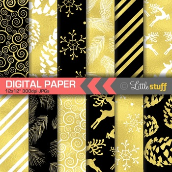 Winter Digital Paper, Christmas Digital Paper, Chalboard Black and Gold