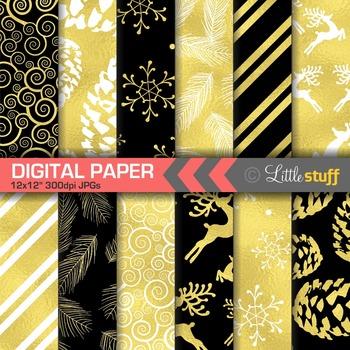Winter Digital Paper, Christmas Digital Paper, Chalboard B