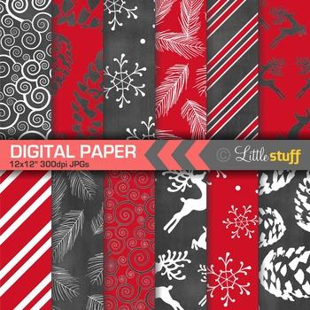Winter Digital Paper, Christmas Digital Paper, Chalboard Black and Red