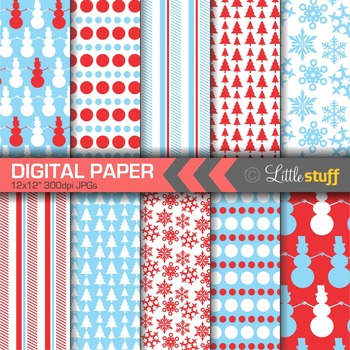 Winter Digital Paper, Christmas Digital Paper, Red and Blue