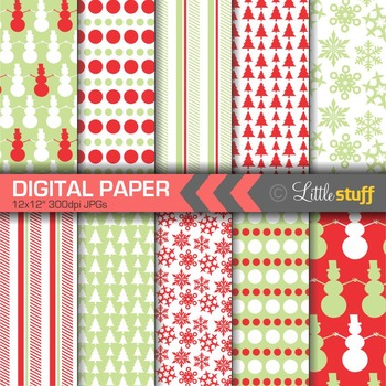 Winter Digital Paper, Christmas Digital Paper, Red and Green