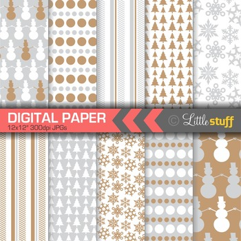 Winter Digital Paper, Christmas Digital Paper, Silver and Gold