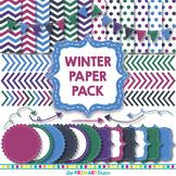 Winter Digital Paper and Clip Art Pack