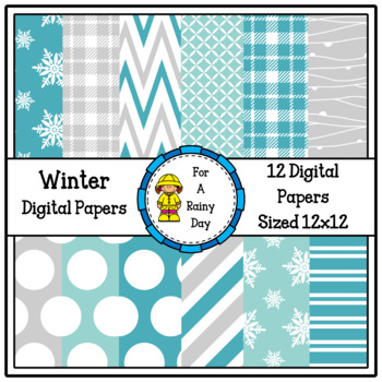 Winter Digital Papers (Blue & Gray)