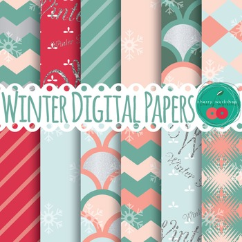 Winter Digital Papers - Glitter, Snowflakes, Pink and Blue