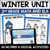 Winter Digital & NO PREP Printable Math and ELA Activities