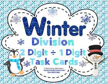 Winter Division (2 Digit ÷ 1 Digit Numbers) Task Cards