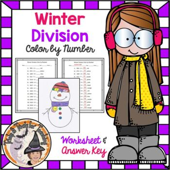 Winter Division Color by Number Worksheet and Answer KEY