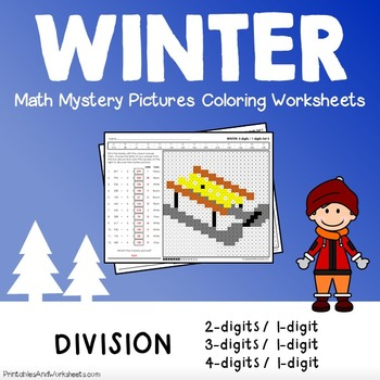 Winter Math Division, Winter Division Color by Number Mystery Picture Worksheets