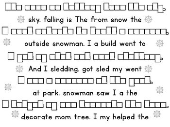 Winter Dolch Pre-Primer High Frequency Sight Word Sentence Unscramble Word Boxes