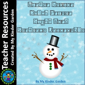 Winter Dolch Primer Sight Word Sentence Unscramble Word Boxes