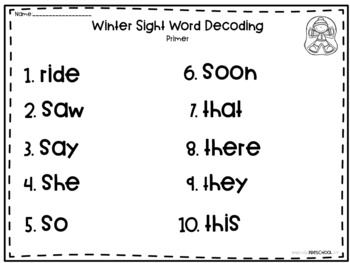 Winter Dolch Sight Word Decoding Bundle