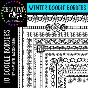 Winter Clipart Doodle Borders {Creative Clips Clipart}