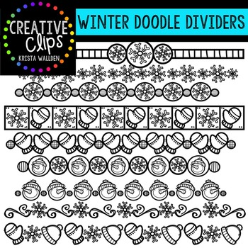 Winter Doodle Dividers {Creative Clips Digital Clipart}