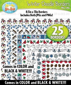 Winter Doodle Frame Borders {Zip-A-Dee-Doo-Dah Designs}